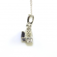 0.76 Carat Iolite And Diamond Pendant In 14k White Gold With 16 Inch Chain