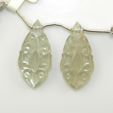 Carved Grey Moonstone Leaves Shape 32x15mm Drilled Beads Matching Pair
