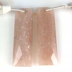 Peach Moonstone Square Shape 32x12mm Drilled Beads Matching Pair