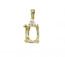 10x8mm Oval Pendant Semi Mount In 14k Yellow Gold With White Diamonds (pscl035)