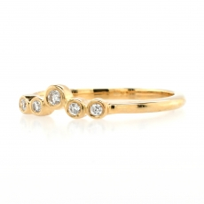 0.08 Carat Bezel Set Diamond Stackable Ring Band In 14K Yellow Gold