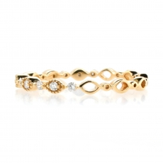 0.13 Carat  White Diamond Art Deco Eternity Stackable Ring Band In 14K Yellow Gold