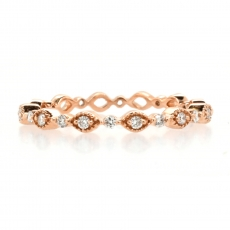 0.13 Carat White Diamond Art Deco Eternity Stackable Ring Band In 14K Rose Gold