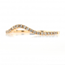 0.15 Carat Curved Diamond Contour Ring Band In 14K Yellow Gold