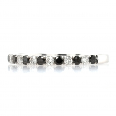 0.21 Carat Black Diamond and 0.18 Carat White Diamond Half Eternity Stackable Ring Band In 14K White Gold