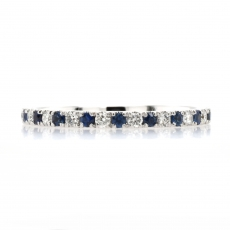 0.21 Carat Ceylon Sapphire and 0.15 Carat White Diamond Half Eternity Stackable Ring Band In 14K White Gold