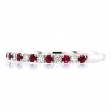 0.22 Carat Burmese Ruby and 0.16 Carat White Diamond Half Eternity Stackable Ring Band In 14K White Gold