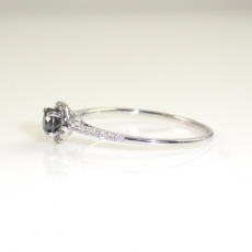 0.24 Carat Black Diamond And Diamond Engagement Ring In 14k White Gold