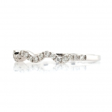 0.24 Carat Wavy Diamond Ring Band In 14K White Gold