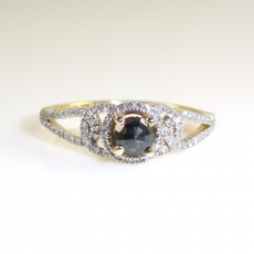 0.25 Carat Black Diamond And Diamond Engagement Ring In 14k Yellow Gold
