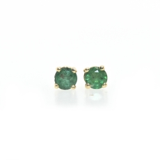 0.25 Carat Brazilian Emerald Stud Earring In 14K Yellow Gold