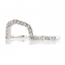 0.27 Carat Halfway Diamond Contour Ring Band In 14K White Gold