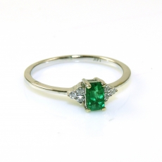 0.28 Carat Colobian Emerald  And Diamond Ring In 14k White Gold