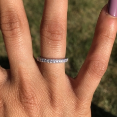0.28 Carat White Diamond Half Eternity Wedding Ring Band In 14K White Gold