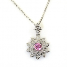 0.30 Carat Pink Sapphire And Diamond Halo Pendant In 14k White Gold With 16in Chain
