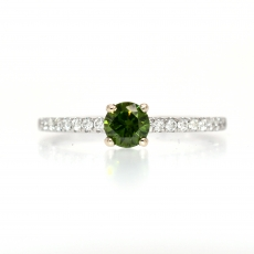 0.33 Carat Fancy Green Diamond With Accent White Diamond Engagement Minimalist Ring in 14K White Gold.