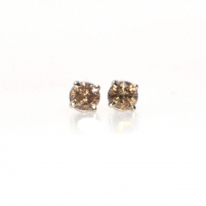 0.35 CARAT CHOCOLATE DIAMOND STUD EARRING IN 14K WHITE GOLD