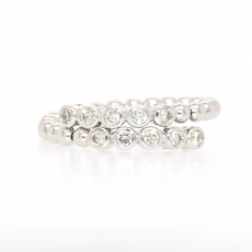 0.35 Carat overlap Bazel set Diamond strach bead Ring band in 18k White gold