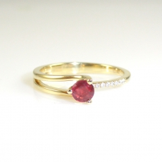 0.37 Carat Madagascar Ruby And Diamond Ring In 14k Yellow Gold