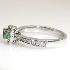 0.37 Carat Natural Color Change Alexandrite And Diamond Ring In 14k White Gold