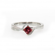 0.38 Carat Red Spinel And Diamond Ring In 14k White Gold