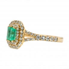 0.39 Carat Colombian Emerald And Diamond Ring In 14k Yellow Gold