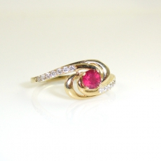 0.39 Carat Madagascar Ruby And Diamond Ring In 14k Yellow Gold