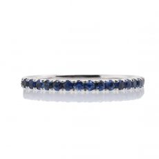 0.39 Carat Sapphire With Stackable Ring Band in 14K White Gold