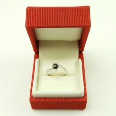 0.40  Carat Black Diamond And Diamond Engagement Ring In 14k White Gold