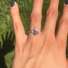 0.40 Carat Pink Sapphire And Diamond Ring In 14k White Gold