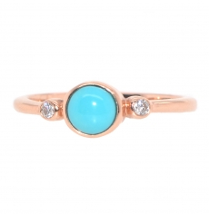 0.43 Carat AAA Quality Turquoise And Diamond Ring In 14K rOSE Gold