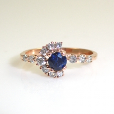 0.44 Carat Blue Sapphire And Diamond Ring In 14k Rose Gold