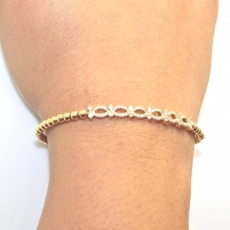 0.46 carat Diamond bead strach Bracelet in 18K yellow gold