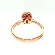 0.47 Carat Pink Spinel With Accent Diamond Halo Ring in 14K Rose Gold