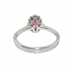 0.47 Carat Red Spinel and Diamond Ring In 14k White Gold