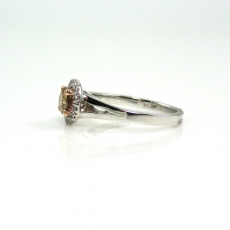 0.48 Carat Champagne Diamond And White Diamond Engagement Ring In 14k White Gold