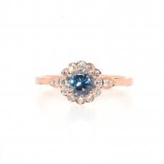0.49 Carat Aquamarine and diamond ring in 14k rose gold
