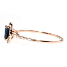 0.49 Carat Blue Sapphire And Diamond Ring In 14k Rose Gold