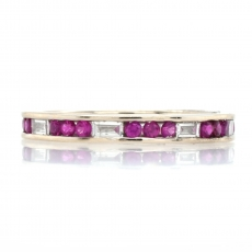 0.49 Carat Burmese Ruby With Baguette  Diamond Channel Set Ring Band In 14K White Gold