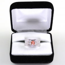 0.49 Carat Rare Padparadscha Sapphire And Diamond Ring In 14k White Gold