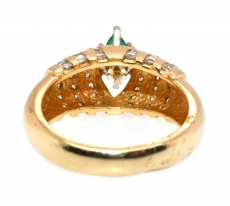 0.50 Carat Emerald And Diamond Ring In 14k Yellow Gold