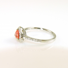 0.50 Carat Padparadscha Sapphire And Diamond Ring In 14k White Gold
