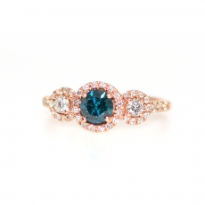 0.51 CARAT BLUE DIAMOND WITH ACCENT WHITE DIAMOND ENGAGEMENT RING IN 14K ROSE GOLD