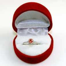 0.51 Carat Padparadscha Sapphire And Diamond Ring In 14k White Gold