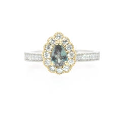 0.52 Carat Excellent Color Change Natural Alexandrite And Diamond Ring In 14k Dual Tone (Yellow/White) Gold