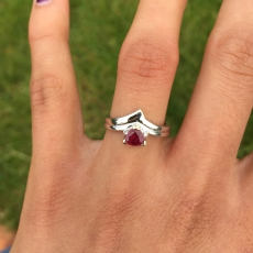 0.52 Carat Madagascar Ruby And Diamond Ring In 14k White Gold