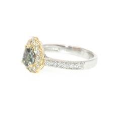 0.52 Carat Natural Excellent Color Change Alexandrite And Diamond Ring In 14k Dual Tone (yellow/white) Gold