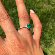 0.52 Carat Zambian Emerald And Diamond Ring In 14K Rose Gold