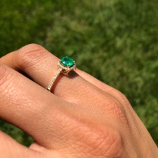 0.52 Carat Zambian Emerald And Diamond Ring In 14K Yellow Gold