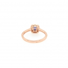 0.53 Carat Ceylon Sapphire And Diamond Ring 14k Rose Gold